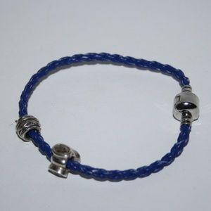 """Blue leather charm bracelet 7.5"""" w beads"""